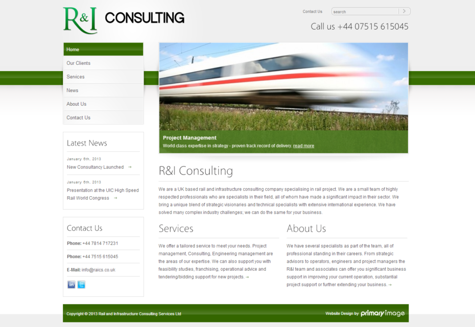 Web design for Rail Infrastructure Consulting Services