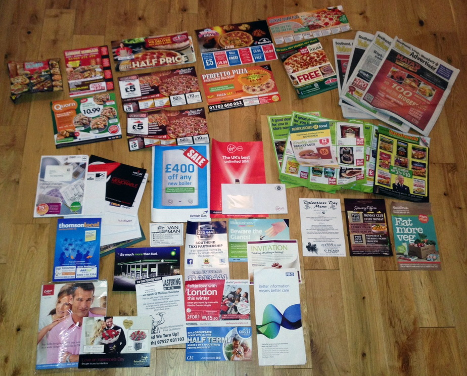 Promotional/junk mail delivered in a single month