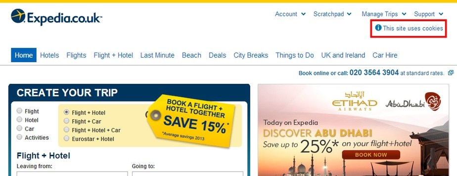 Expedia EU Cookie Law compliance example