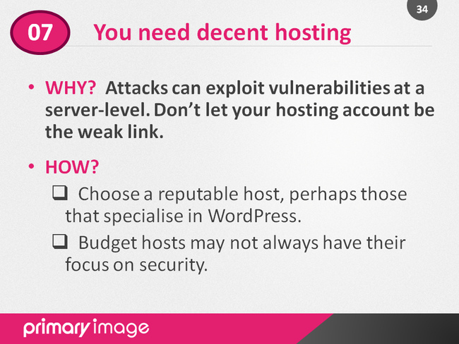 WordPress Security Slide34