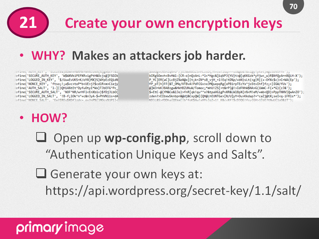 WordPress Security Slide70