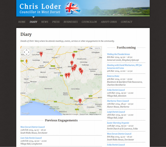 Chris Loder - Website Calendar Diary