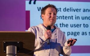 Mike Pead speaking at WordCamp London