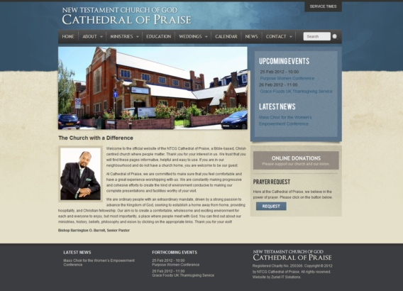 Cathedral of Praise web design