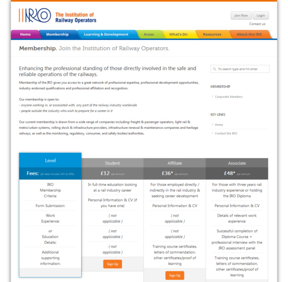 IRO membership page