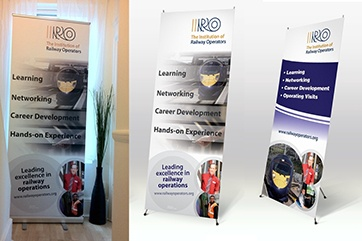 Pull-up banner stands for the Institution of Railway Operators