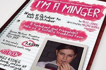 "Flyer design for ""I'm a Minger"" theatre production"