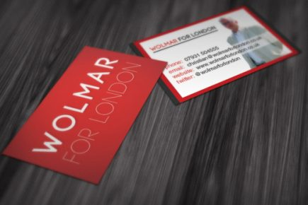Business cards for Wolmar for London (mayoral campaign)