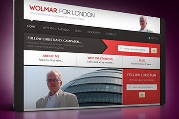 Web design for Wolmar for London (mayoral campaign)
