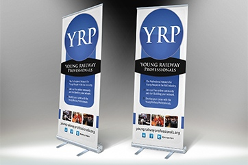 Banner stands for the Young Rail Professionals