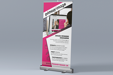 Primary Image pull-up banner stand design