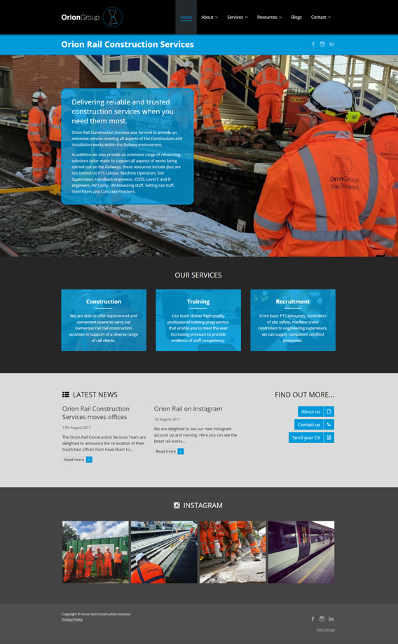 Orion Rail recruitment home page