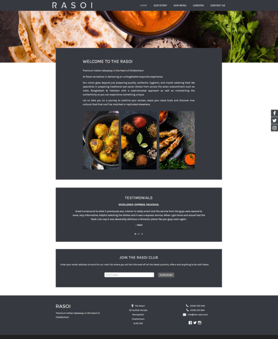 Indian takeaway web design