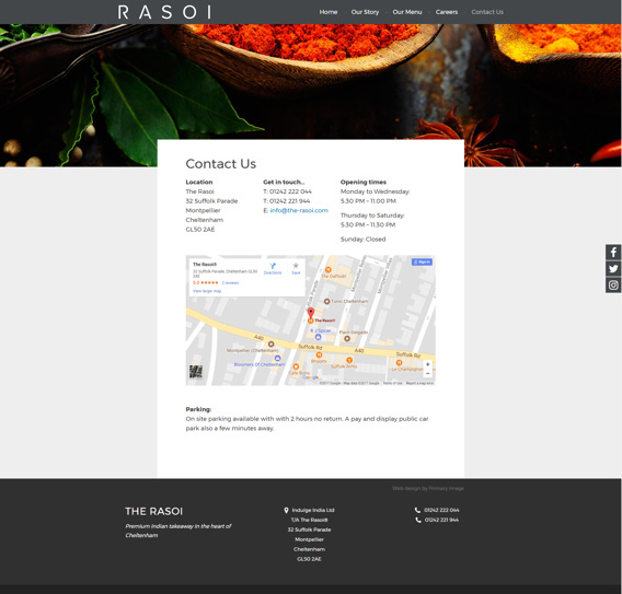 Indian restaurant web design